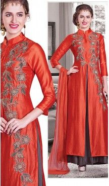 Red Color Chanderi Silk Achkan Style Designer Readymade Salwar Kameez | FH513078108 #salwar, #kameez, #readymade, #anarkali, #patiala, #pakistani, #suits, #online, #stitched, #indian, #dress, #material, #shopping, #fashion, #boutique, #mode, @heenastyle , #designer , #pakistani , #evening , #wedding , #casual , #palazzo , #patiyala , #punjabi , #churidar , #narrow