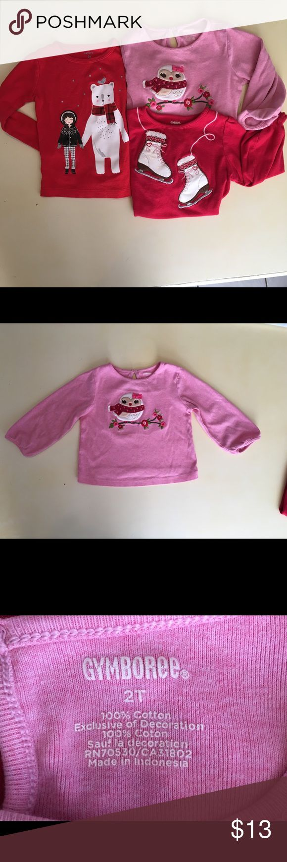 Long Sleeve Cotton Tops Three really cute long sleeved cotton shirts Size 2T:  Gymboree: Ice Skates & Owl shirts.  Children's Place: Polar Bear shirt.                                          The Gymboree tops are heavier weighted cotton than screen-printed Children's Place long-sleeves tee which is of average weight. All 3 great used condition - no stains or markings. Gymboree Shirts & Tops