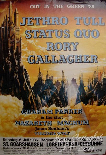 Jethro Tull, Status Quo, Rory Gallagher, Concert Poster