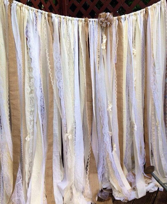 Items Similar To Burlap Garland Lace Ribbon Garland Wedding Backdrop  Champagne Nude Burlap Curtain BIrthday Shower Party Decor Cake Table Gender  Revesl On ...