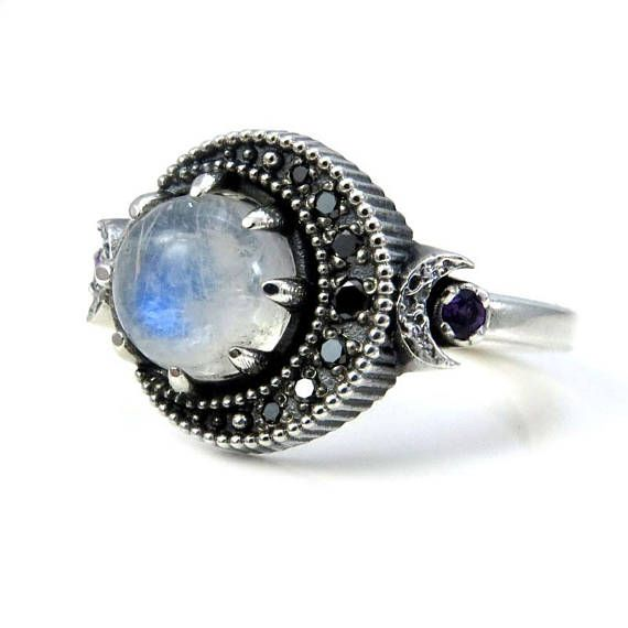 Moonstone Moon Ring Sterling Silver Boho Engagement Ring