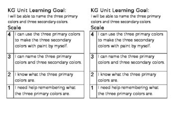 KG Primary Colors Learning Goal and Scale by Michelle Kurasz | Teachers Pay Teachers