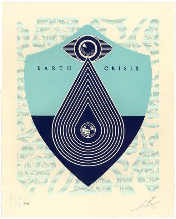 """Shepard Fairey (gehoorzamen) - Crisis van de aarde  Een originele boekdruk afdrukken door de wereldberoemde VS gevestigde kunstenaar Shepard Fairey aka """"Obey Giant"""". Gemaakt door de kunstenaar voor zijn solo show """"Earth Crisis"""" in Parijs wordt recht gehouden """"Earth Crisis"""".Eerste foto is om alleen in de handel - de veiling is niet voor gedrukte uitgave nummer 1Maatregel 42.5 cm x 349 cm en deel uitmaken van van een beperkte oplage van slechts 450 afdrukken. Komst gesigneerd en genummerd door…"""