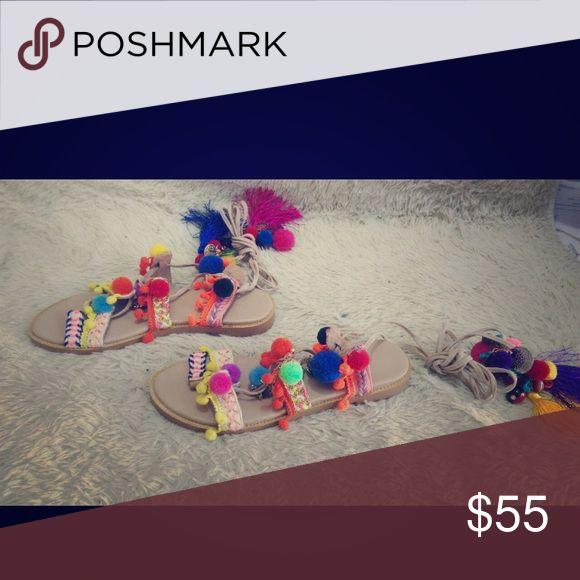 Sandals Pom Pom tie up sandals & Other Stories Shoes Sandals