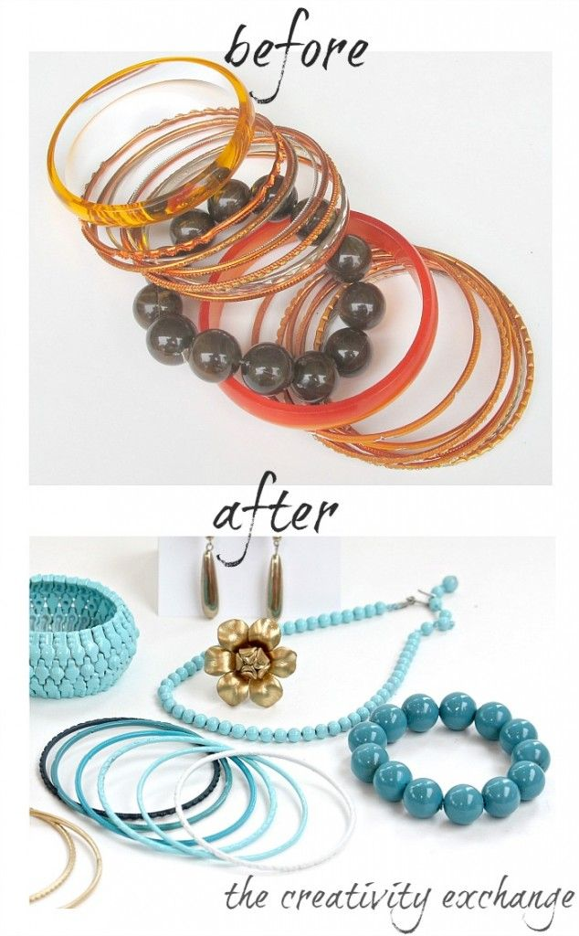 Tutorial for how to transform old junk jewelry with enamel spray paint.  After the enamel hardens, the finish is gorgeous and super durable.