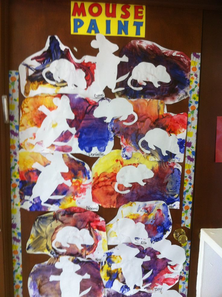 Mouse Paint- Color Mixing. Paint over taped off mouse then reveal