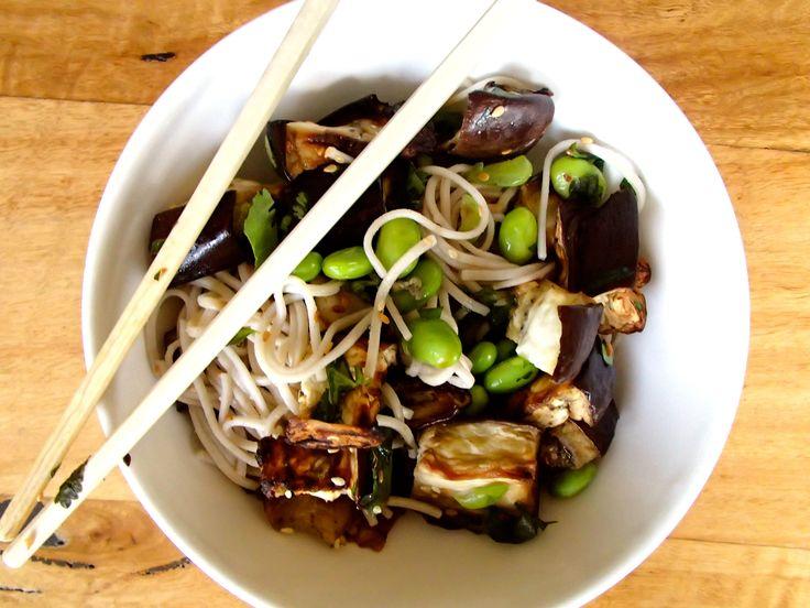 Roasted Eggplant & Edamame Noodles @ www.skatingtomato.com/recipes #vegan #plantbased #recipe