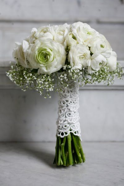 ranunculus and baby's breath bouquet wrapped in lace by JL Designs, Photo by Barnaby Draper Studio