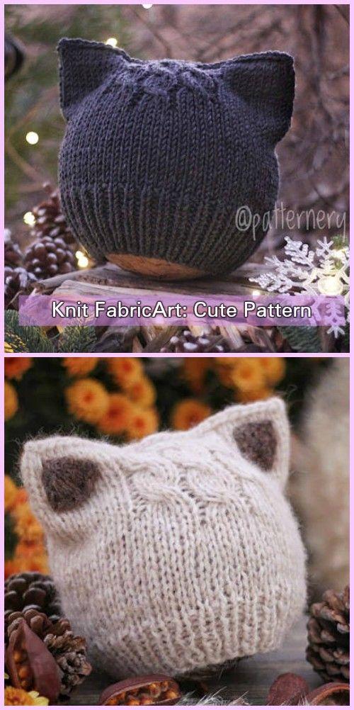 4f18f5315d7 Knit Fox Ears Cat Ears Beanie Hat Knitting Pattern