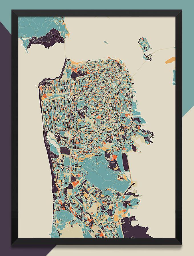 24 Modern Map Art Prints Amazingly