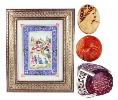 "Lot of 4: Persian painting of a hunting scene, mosaic frame made from bone inlay. Early 1900's AD (12 ½"" x 10 ¼""); Persian silver ring with a carnelian inlay. 1700 AD (Size 8 ½); Carnelian stamp seal with animals. 600 AD (½""); Italian shell cameo. 1850-1890 AD (1"")"