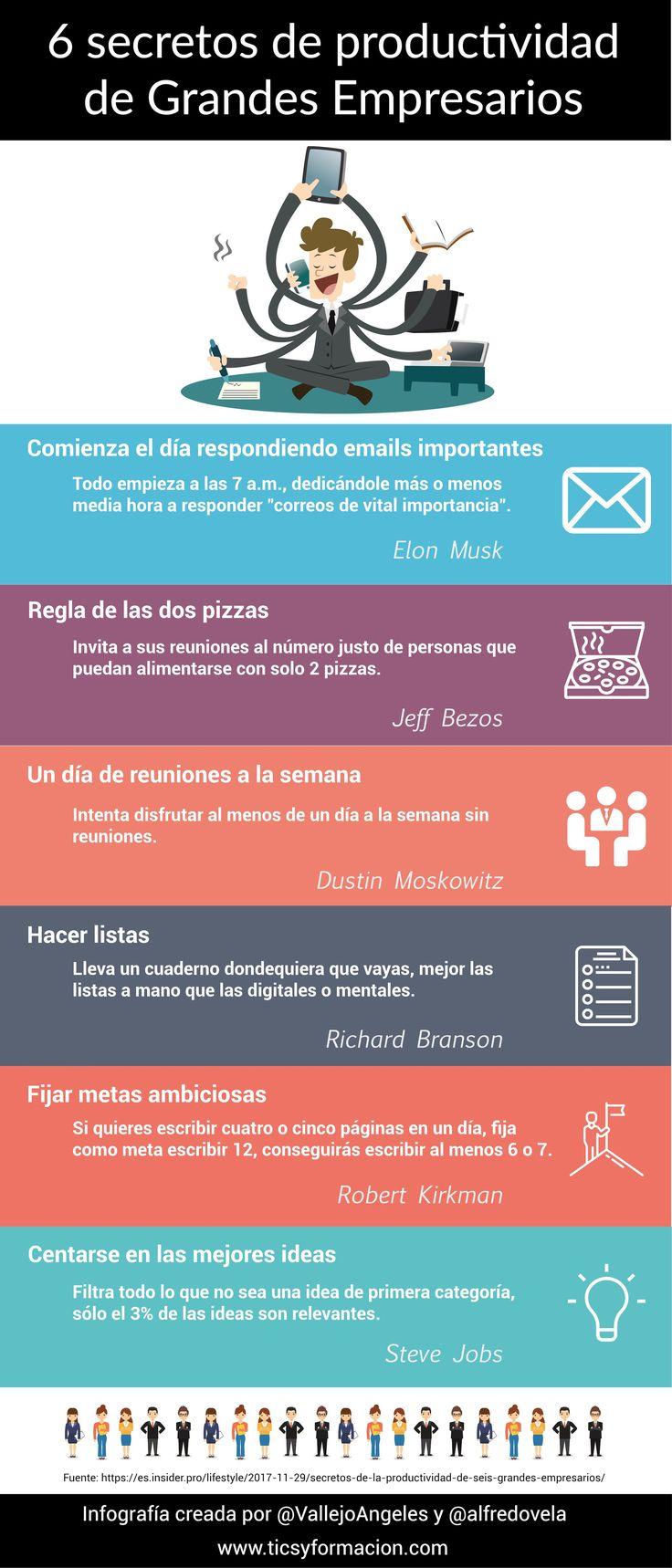 6 secretos de productividad de grandes empresarios #infografia