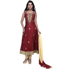 Maroon Color Art Silk Ready-made Salwar Suits ( Sizes - 36, 38, 40, 42, 44 ) : Rajeshwari Collection  YF-42301