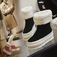 2016冬季厚底雪地靴女保暖羊毛真皮松糕底磨砂加厚棉鞋中筒雪地鞋