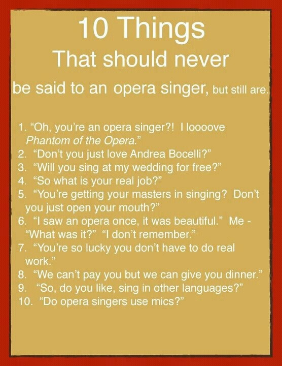 the life of amazing opera singers essay The vast influence on music in general and particularly the history of opera of these amazing singers cannot be denied of life as a punishment.