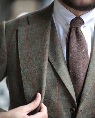Brown Check Suit with Textured Necktie