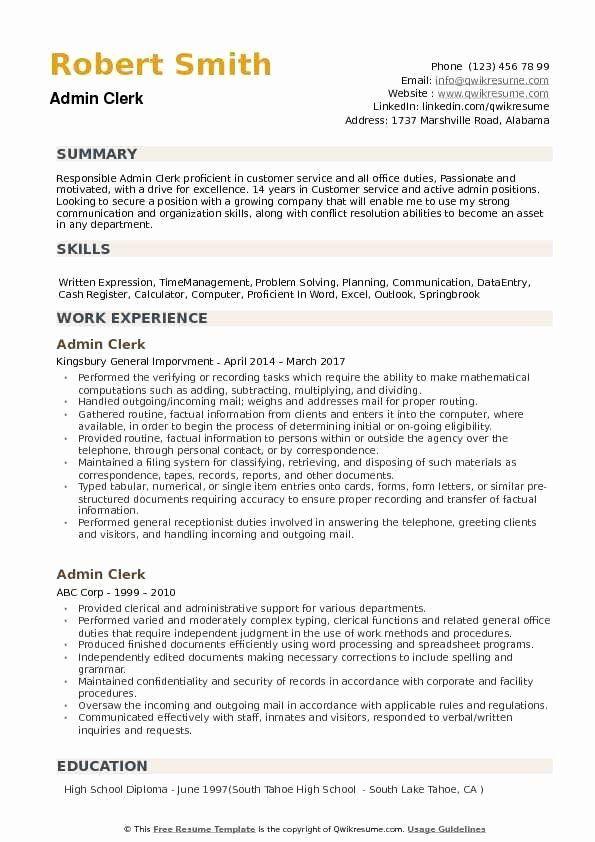 Answering Multiple Phone Lines Resume Unique Admin Clerk Resume Samples