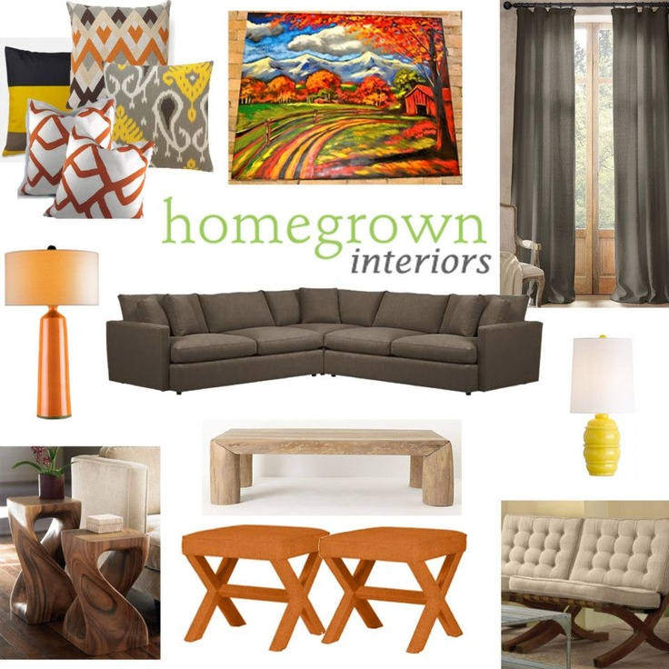 Orange And Grey Living Room Moving Ideas Pinterest