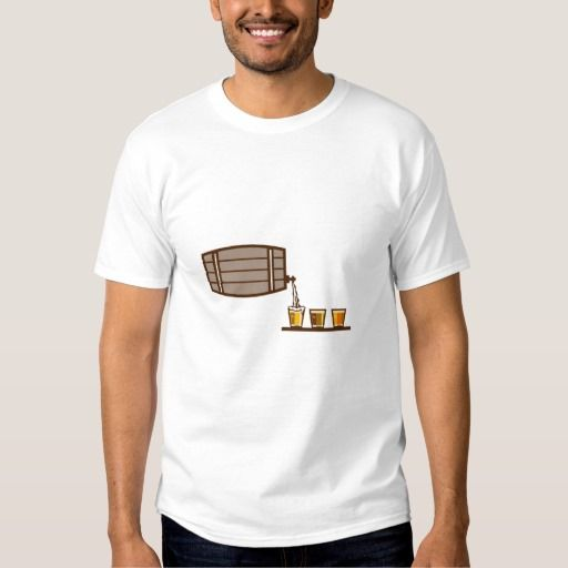 Beer Flight Keg Pouring on Glass Retro Tee Shirt. Illustration of beer keg pouring on glass of beer flight beer each holding a different beer type on isolated background done in retro style. #Illustration #BeerFlightKegPouringonGlass