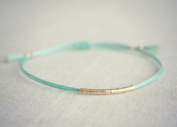 Gold Beaded Bracelet Original Lucia On Teal Blue String Jewelry Pinterest Bracelets Thread And Beads