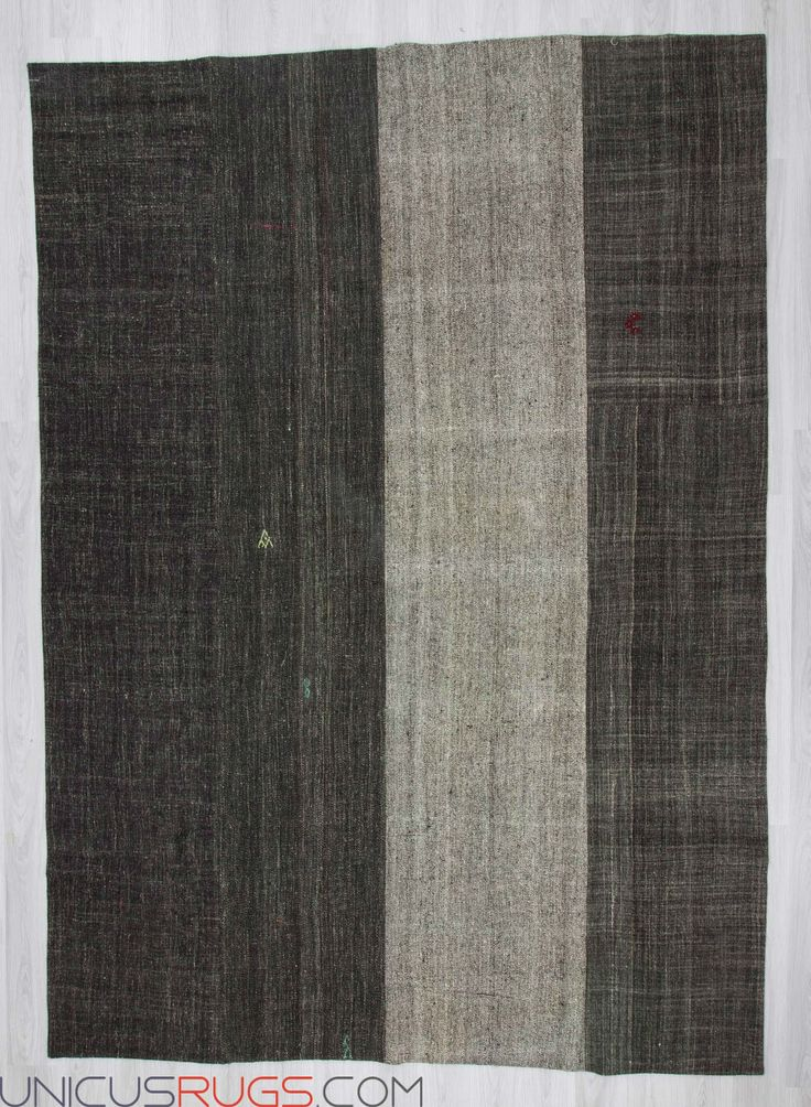 "Vintage modern patchwork made from handwoven Turkish kilim pieces and backed with good quality cotton fabric as reinforcement. In very good condition. Width: 8' 8"" - Length: 12' 2"" PATCHWORKS"
