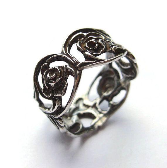 SOLD. Vintage ring, Art Nouveau style floral band, 835 silver by Christoph Widmann of Pforzheim. Hildesheimer Rose design, pierced openwork https://www.etsy.com/listing/235787343/vintage-ring-art-nouveau-style-floral