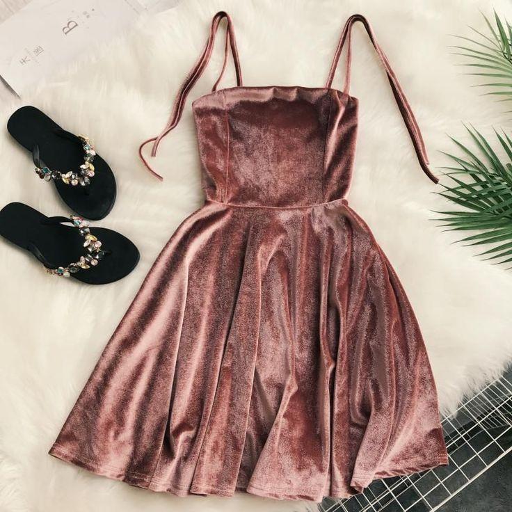 Buy Lucuna Spaghetti Strap Velvet Mini A-Line Dress   YesStyle
