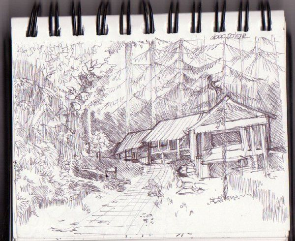 drawing in dago pakar forest
