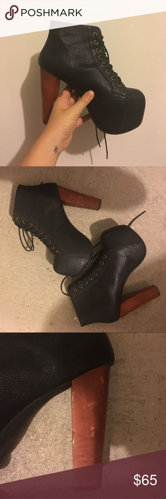 Jeffrey Campbell Litas Black Litas from Jeffrey Campbell. Great stylish boot to make any outfit elevated! Right heel is a bit scuffed, see photos. Also have these listed in red spiked and black skulls! Jeffrey Campbell Shoes Heeled Boots
