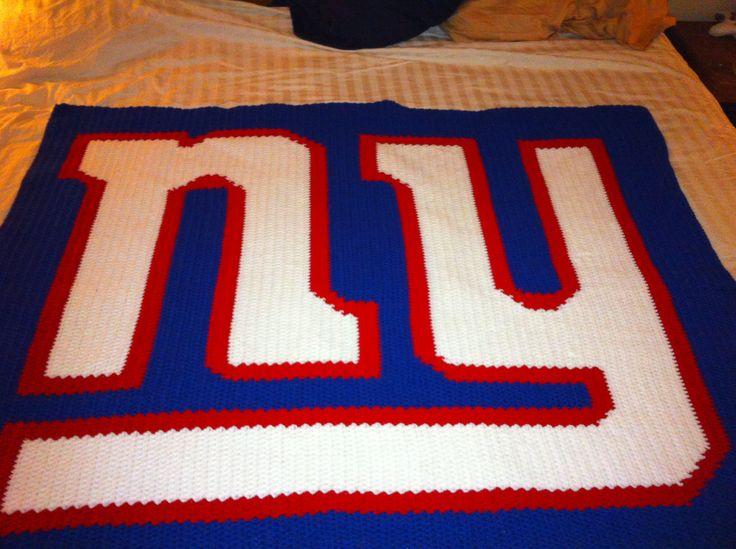 Handmade New York Giants Blanket Pixel Crochet Blanket