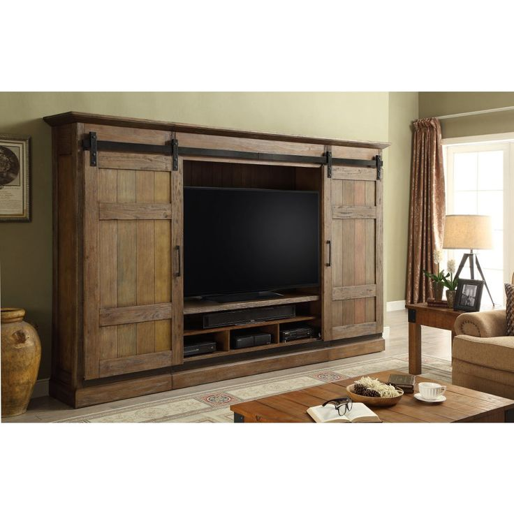 parker house huntspoint 4pc sliding door wall in vintage weathered pine in category