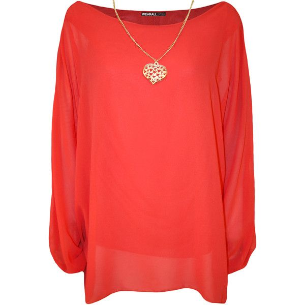 Nora Baggy Batwing Sleeve Necklace Top (62 BRL) ❤ liked on Polyvore featuring tops, coral, plus size, plus size red tops, layered tops, red top, batwing sleeve tops and red chiffon top