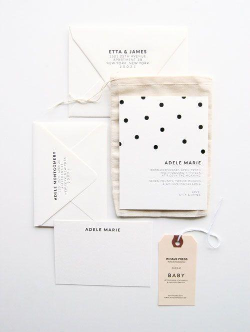 Polka-dot Letterpress Birth Announcements | In Haus Press//