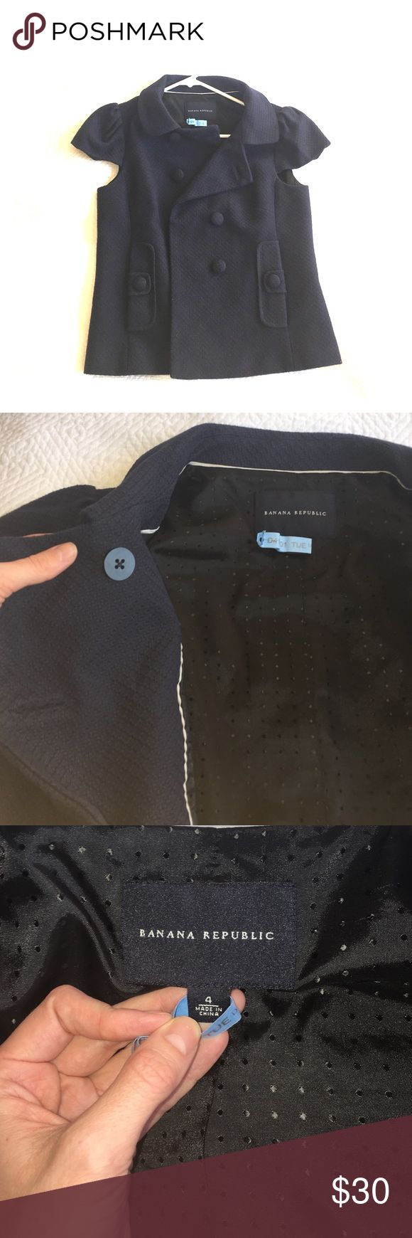 Banana Republic navy cap sleeve jacket. NWOT!! Cute Banana Republic navy blue cap sleeve jacket. Size 4, NWOT, never been worn! I've had this in my closet for a couple of years and so I recently decided to get it dry cleaned to sell (hence the dry cleaning tag 😊). Pet-free, smoke-free house. Price firm. Shell: 100% cotton (heavy). Polka dot lining: 50% nylon, 50% acetate. Banana Republic Jackets & Coats
