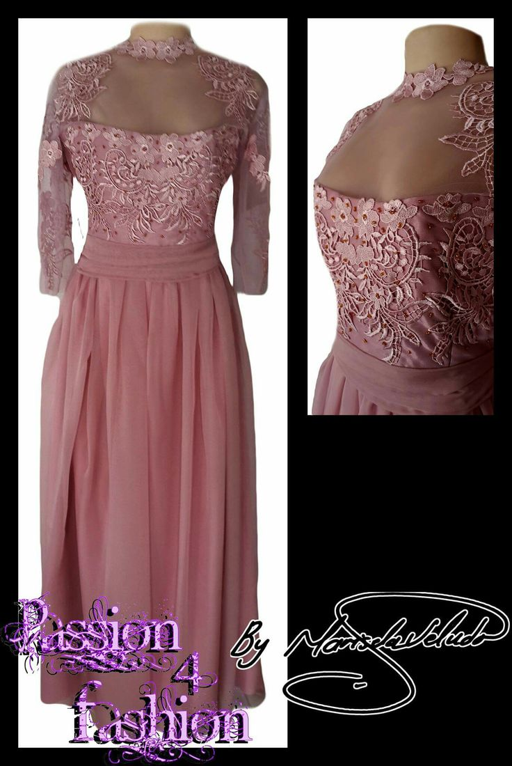 Dusty pink bridesmaid dress with an applique lace bodice with gold beads and an illusion neckline and sheer 3/4 lace sleeves. #mariselaveludo #fashion #eveningwear #lace #passion4fashion #bridesmaiddress #weddingretinue