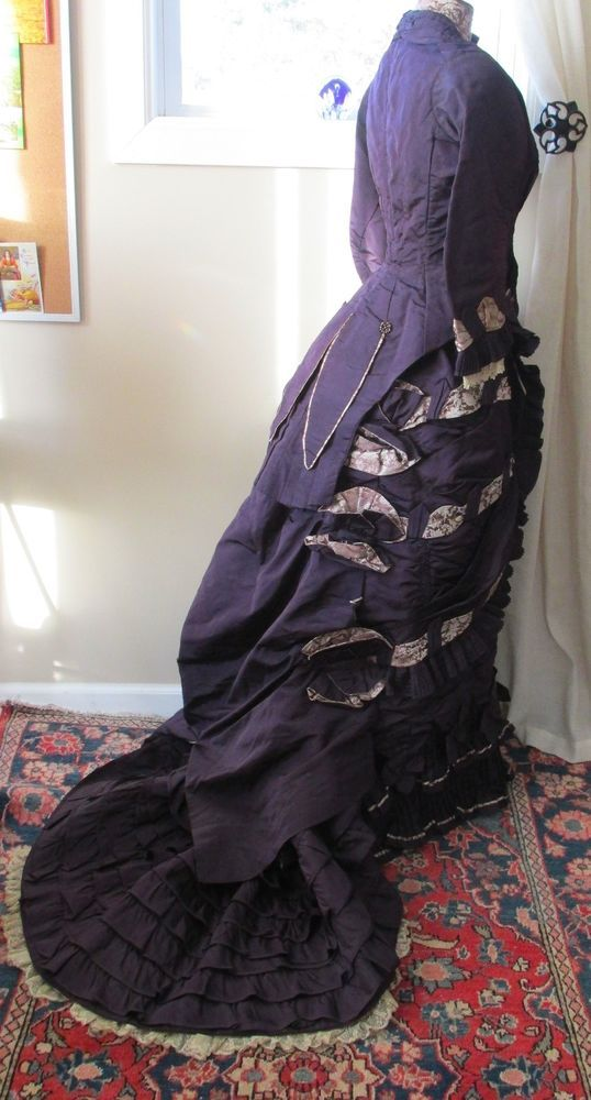 Fab Antique Victorian Plum Silk Rose Jacquard Lobster Tail Bustle Skirt & Bodice