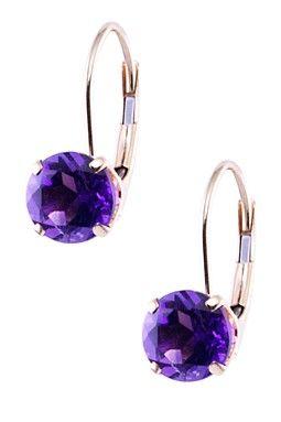 HauteLook | Jewelmak: Holiday Jewelry: 14K Yellow Gold Dark Purple Amethyst Earrings