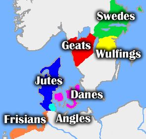 Approximate central regions of tribes mentioned in Beowulf, with the location of the Angles in Angeln. See Scandza for details of Scandinavia's political fragmentation in the 6th century.