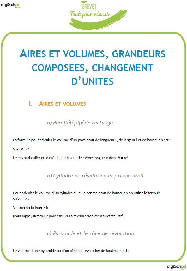 Aires et Volumes, grandeurs composées et changements d'unités
