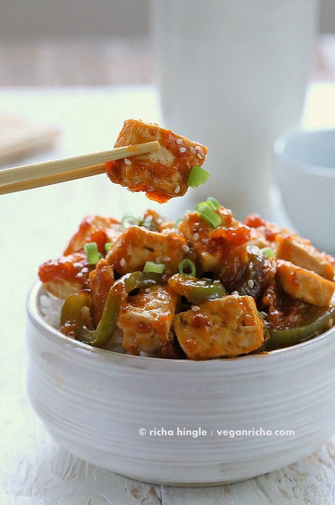 Spicy Orange Tofu and Peppers . Vegan Glutenfree Recipe | Vegan Richa