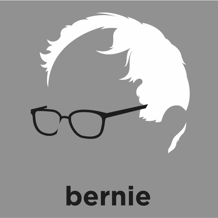 A t-shirt with a minimalist hair based illustration of  Bernie Sanders: firebrand senator from Vermont and candidate for the Democratic nomination in the 2016 presidential election