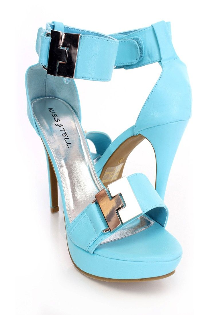 light blue hardware strappy open toe heels faux leather. Black Bedroom Furniture Sets. Home Design Ideas