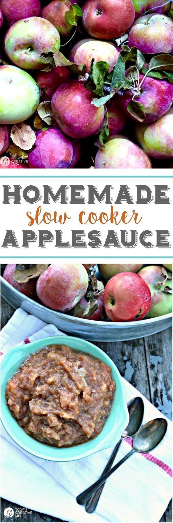 Homemade Slow Cooker Applesauce | Sweet, tangy and delicious! So easy to make using your crockpot! See more Slow Cooker Sunday Recipes on http://TodaysCreativeLife.com
