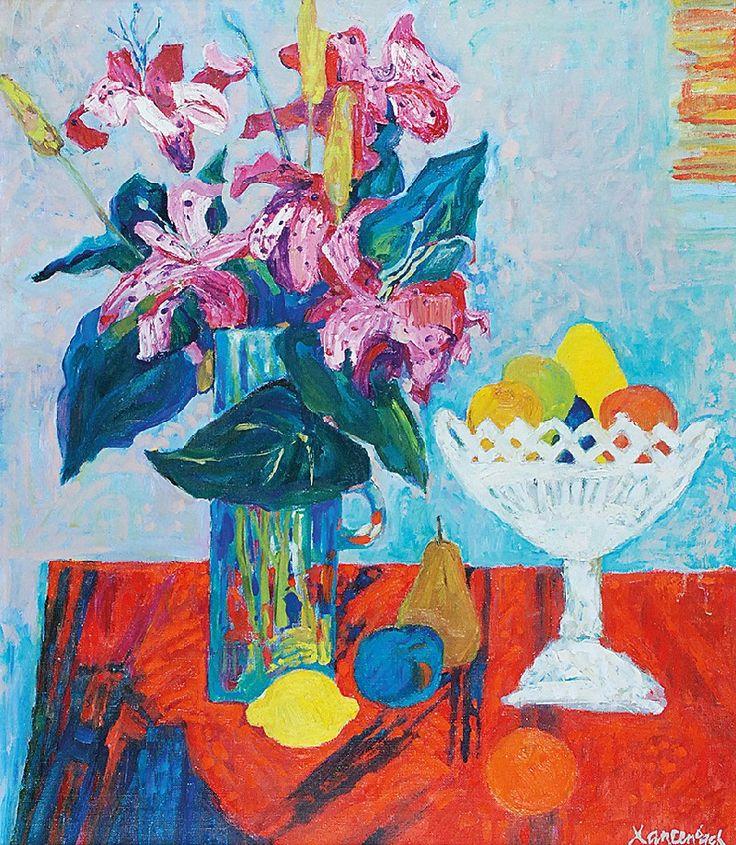 Jan SZANCENBACH (1928-1998)  Kwiaty, 1996 olej, płótno; 77 x 66 cm; sygn. p. d.: JSzancenbach; na odwrocie opis autorski: JAN SZANCENBACH / KWIATY / 1996