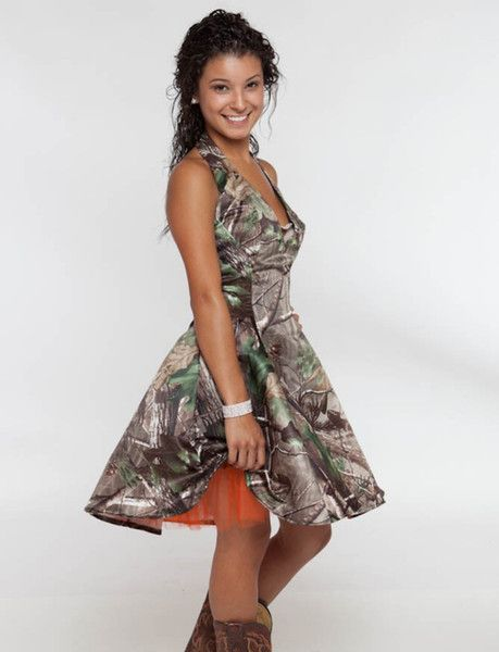 Wholesale 2015 Camo Wedding Dresses Backless Halter Neckline Knee Length Camo Weddings Dresses with Pleats Camo Bridesmaid Dresses, Free shipping, $119.38/Piece | DHgate Mobile