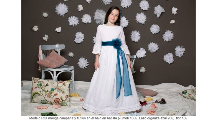 Sencillo y precioso vestido de comunión con manga de campana. El fluflus en el abajo en Batista Plumeti hacen de este vestido un vestido de comunión elegante, sofisticado y diferente. http://www.quemono.org/la-coleccion-vestidos-comunion-trajes-fiesta/vestidos-comunion/