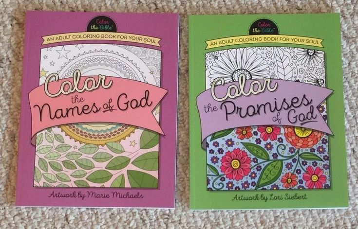 """Lot Of 2 Brand New Color the Names of God & Color the Promises of God themed """"Adult Coloring Books for your Soul.""""    Color the Names of God is a high quality """"unique collection of beautiful Bible Verses"""" Color the Promises of God is high quality with Bible Verses together with   intricate floral, geometry and paisley themes with butterflies, crosses, and bird accents, etc."""