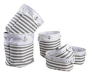 Ensemble à linge, coton - blanc et gris