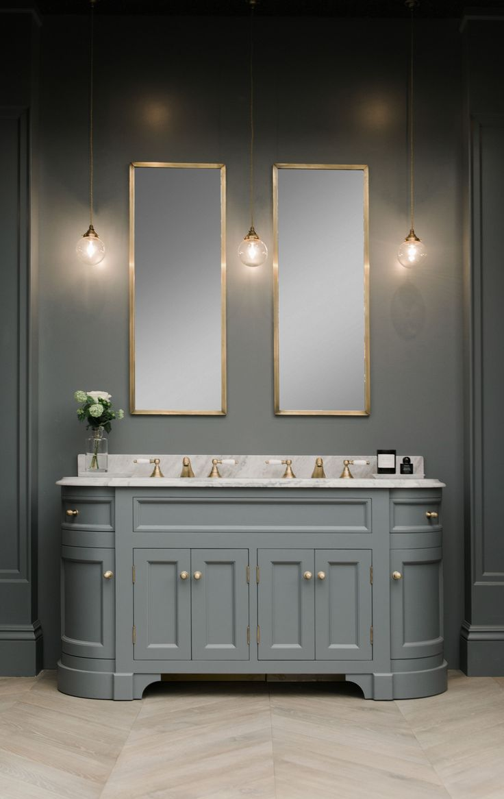 Double Stratford Vanity Unit Painted In Btwn Dog And Wolf Paint And Paper Library Marble Vanity Grey Bathroomsbathroom Mirrorsmaster Bathroomdouble Sink