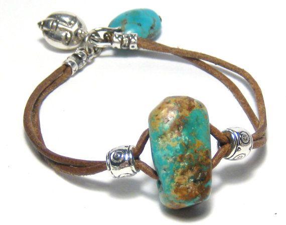 Turquoise Nugget Leather Wrap Bracelet Bohemian Jewelry Tribal Jewelry